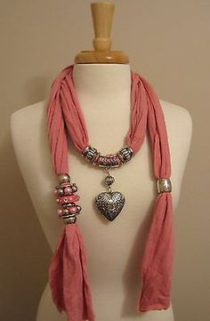 Pink Jewelry Scarf Silver Puffed Heart Pendant Necklace w Ornamental Charms