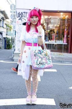 Kumamiki in Cute Harajuku Fashion sheer white dress coverup Japanese Street Fashion, Tokyo Fashion, Harajuku Fashion, Kawaii Fashion, Lolita Fashion, Cute Fashion, Fashion Outfits, Fashion Ideas, Fashion Quotes