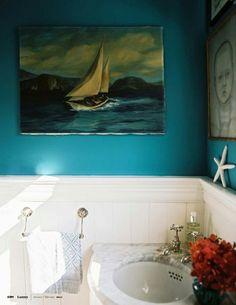 this bathroom is perfect! Benjamin Moore Calypso Blue by andrea