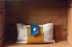 Linen clutch purse yellow cotton knit royal blue leather by memake, £38.00