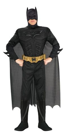 Deluxe Batman Muscle chest jumpsuit with attached boot tops, headpiece, cape and belt.