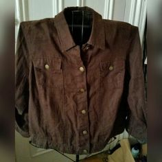 "Brown Linen Jacket 100% linen jacket. Buttons down the front. Pockets on both sides of the chest. Buttons on the back near hem to adjust if needed (see picture). 26"" long from shoulder to hem. Excellent condition! Carole Little Jackets & Coats Blazers"
