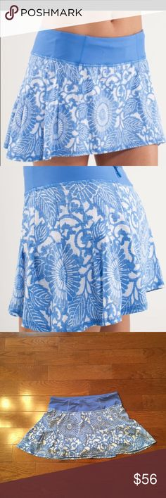 💙Lululemon Run In The Sun Skirt💙 Lululemon Run In The Sun Skirt-Excellent Condition!! Porcelain Blue Beachy Floral Print-No longer sold in stores-Back zip pocket, 2 front gel pockets, never ending drawstring at the waist, no slip grippers on the legs, 4 way stretch. Check out my closet for tons of other lulu and Athleta items!! Bundle & save-🚫lowball offers lululemon athletica Skirts