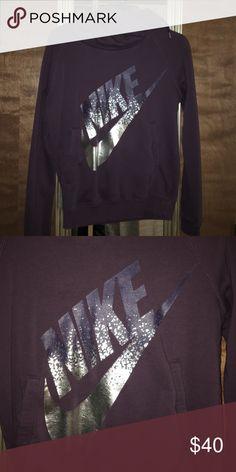Nike hoodie Worn twice, purple Nike funnel neck hoodie with metallic Nike logo. Nike Tops Sweatshirts & Hoodies