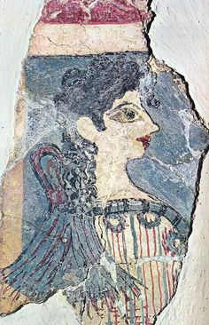 """Minoan fresco named """"Parisiene"""" by the archaeologists. More than 3500 years ago used to decorate the walls of the Palace at Knossos. It was detached from the wall section of the Libation Offerings, and now is on display at Herakleion Museum Ancient Greek Art, Ancient Greece, Ancient Egypt, Ancient History, Fresco, Historical Artifacts, Ancient Artifacts, History Of Wine, Art History"""