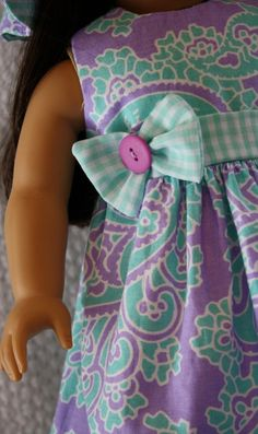 Dress and Hat Fits American Girl - Clothes for 18 Inch Dolls
