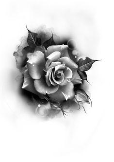 Half Sleeve Tattoos Designs, Tattoo Designs, Desenho Tattoo, Grey Tattoo, Rose Photography, Black And Grey, Succulents, Ideas, Realistic Rose Tattoo