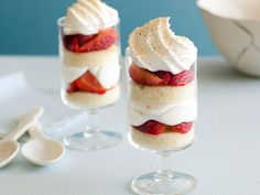 Individual Strawberry Trifles from Giada! (balsamic laced strawberries, pound cake brushed with amaretto, whipped cream - can't get any better!)