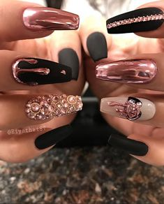 48 Charming Gold Nail Art Designs Ideas For 2019 - ηαιℓѕ - . - 48 Charming Gold Nail Art Designs Ideas For 2019 – ηαιℓѕ – - Almond Nails Designs, Black Nail Designs, Acrylic Nail Designs, Nail Art Designs, Coffin Nail Designs, Exotic Nail Designs, Chrome Nails Designs, New Years Nail Designs, Creative Nail Designs