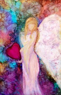 Drawings of Women Angel Artwork, Angel Paintings, Angel Pictures, Alcohol Ink Painting, Art Abstrait, Pictures To Paint, Ink Art, Painting Inspiration, Painting & Drawing
