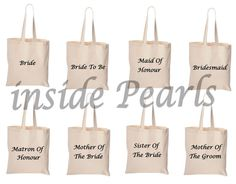 Personalised Tote Canvas Bag Bridesmaid Bag Bride Maid of Honour Bridesmaid gift Cotton canvas. Mother Of The Groom Bags, Bridesmaid Bags, Groom Ties, Maid Of Honor, Party Gifts, Wedding Day, Reusable Tote Bags, Bridal, Cotton Canvas