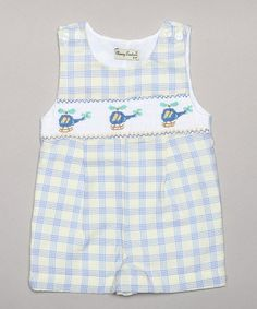 Loving this Blue & Yellow Plaid Helicopter Smocked Shortalls - Infant on #zulily! #zulilyfinds