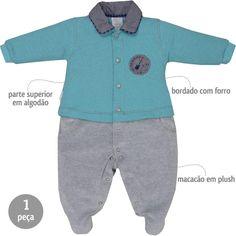 Macacão Bebê Menino em Plush com Gola Pólo Azul - Sonho Mágico    764 Kids   c46e6f04ce3
