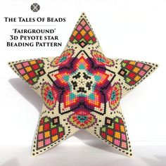 ⭐️ Fairground Peyote Star 🎪 The latest design by TheTalesOfBeads (pattern is already available at my Etsy shop [link in bio] and Craftsy… Bead Loom Patterns, Weaving Patterns, Star Patterns, Color Patterns, Knitting Patterns, Jewelry Patterns, Bracelet Patterns, Mosaic Patterns, Embroidery Patterns