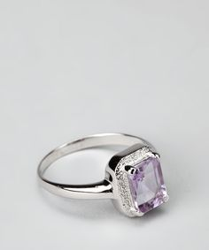 Purple Amethyst & Sterling Silver Rectangle Ring