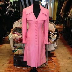 Quality pink 1960s Harella coat - size UK 12 - £45 #pink #1960s #60s #sixties #thinkpink #quality #sophisicated #elegant #cute #fitted #original #madeinengland #british #english #penelopepitstop #twiggy #pastel #pastelpink #candy #fashion #style #retro #trend #vintage