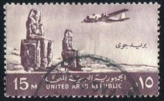 EGYPT - CIRCA 1959: stamp printed by Egypt, shows Plane, Colossi of Memnon, Thebes, circa 1959