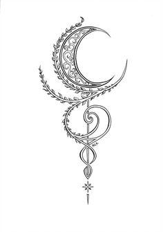 Moon Ornament [Lineart, by MariaEnzianiaKober on DeviantArt moon tattoo Moon Ornament [Lineart, by MariaEnzianiaKober on DeviantArt Mini Tattoos, Flower Tattoos, Body Art Tattoos, Small Tattoos, Turtle Tattoos, Wolf Tattoos, Nature Tattoos, Tribal Tattoos, Tribal Moon Tattoo