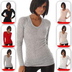 Damen-Feinstrick-Pullover-Pulli-Longshirt-Sweatshirt-Langarm-V-Ausschnitt-34-38
