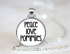 Peace Love Pommies Pomeranian Magnetic Pendant Necklace with Paw Print Organza…