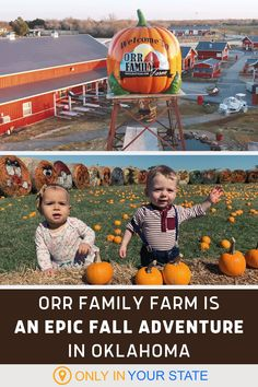 Orr Family Farm in Oklahoma is a perfect fall day trip destination. The pumpkin farm offers so many autumn activities that kids and adults alike will love including a corn maze, pick your own pumpkin patch, zombie paintball, pony rides, hayrides, a cookie barn, and more. Great Places, Places To Go, Pick Your Own Pumpkins, Pumpkin Farm, Pony Rides, Corn Maze, Local Attractions, Autumn Activities, Train Rides