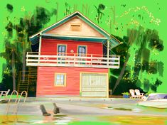 Red boat house on Pigeon Lake. Ipad Painting. August 2018