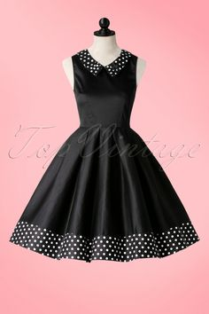 a6ca03b09f2df 1950s Hazel Polkadot Swing Dress in Black Swing Skirt