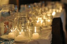 Candles in mason jars- love it!