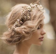 a floral crown made from #waxflower, lavender, hellebore, hydrangeas or peonies will create the perfect #vintage look.