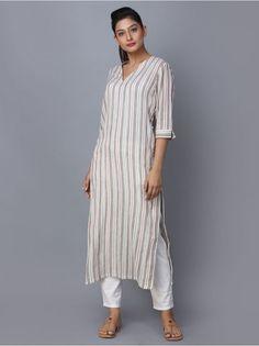 Beige Striped Cotton Kurta