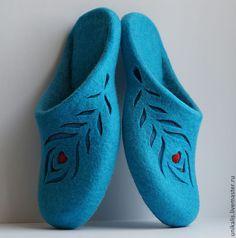 """Купить Валяные тапочки """"Перышки. Голубая бирюза"""" - бирюзовый, яркие цвета, валяные тапочки"""