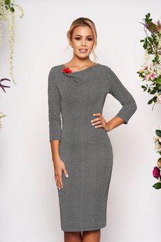 Rochie Neagra cu Maneci Trei-Sferturi si Imprimeuri Grafice Dresses For Work, Dresses With Sleeves, Long Sleeve, Fit, Fashion, Cots, Tricot, Moda, Sleeve Dresses