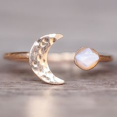 Rose Gold Little Raw Opal and Moon Ring | Bohemian Gypsy Jewels | Indie and Harper