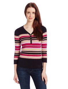Jones New York Women's Petite 3/4 Sleeve V-Neck Multi Stripe Henley