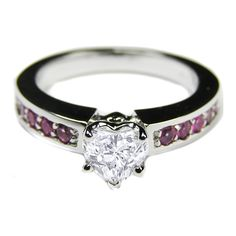 Heart Shape Diamond Engagement Ring with channel set pink sapphires in 14K White Gold