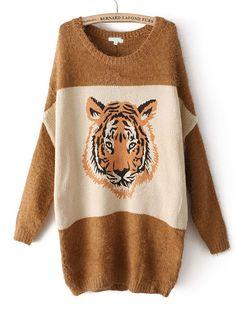 Khaki Long Sleeve Tiger Pattern Loose Sweater US$32.62