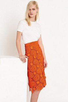 House of Holland Lace A-Line Skirt in Orange #a-lineskirt #houseofholland #women #designer #covetme