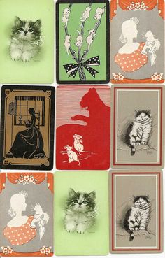 Vintage 1930s - 1950s CAT Kitty Trading Playing Swap Cards Gladys Emerson Cook