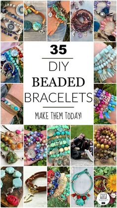 35 Beautiful DIY Bracelet designs to make today and wear tonight featuring Bead Gallery beads from Halcraft Collection. 35 Beautiful DIY Bracelet designs to make today and wear tonight featuring Bead Gallery beads from Halcraft Collection. Diy Jewelry Unique, Diy Jewelry To Sell, Jewelry Making Tutorials, Jewelry Making Supplies, Jewelry Crafts, Jewelry Ideas, Sell Diy, Beginner Jewelry Making, Leather Jewelry Tutorials
