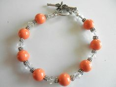 Pearl Bracelet Dainty Bracelet Coral Pearl Bracelet Spring and Summer Bracelet Toggle Bracelet Wedding Bracelet