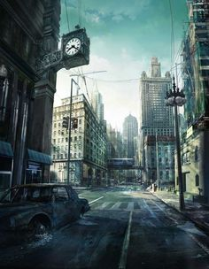 Concept Root - Concept Art from the Games and Movie Industries.  I chose this image in particular as it relates to the Zombie Dystopia theme. The street is empty and abandoned. Perfect piece of research to interpret when drawing backgrounds.