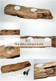 DIY Treibholzteelicht / Teelichthalter - Home Accessories Diy Shabby Chic Living Room, Shabby Chic Cottage, Shabby Chic Furniture, Wood Projects That Sell, Diy Wind Chimes, Driftwood Crafts, Shabby Chic Crafts, Tea Light Holder, Decoration