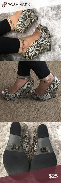 Faux Snakeskin Wedges Faux Snakeskin Platform Wedges with ankle strap. True to size. Never worn, only tried on. No trades. Ships promptly. JustFab Shoes Heels