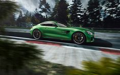 Download wallpapers Mercedes-AMG GT R, 2018, green supercar, racing track, green GT R, N?rburgring, Germany