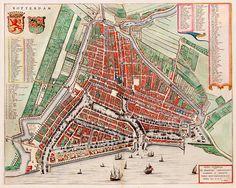 Stadsplattegrond van Rotterdam 1649 in door Blaeu uitgegeven. Zuid-Holland.