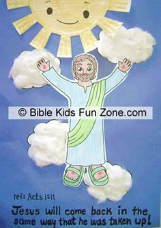 Easy craft for the bible story about Jesus ascending into heaven: Jesus Goes Up Craft