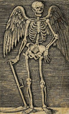 Engraver unknown (after Marcantonio (1500-1527); Personification of Death (winged), right hand on a scythe, left arm upon left hip [Germany] nd