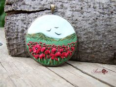 polymer pendant, meadow with wild poppies