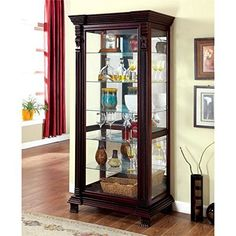 Features: Finish: Oak Materials: Hardwood, Glass Elegant Traditional inspired style Robust hardwood frame with mirrored back panel Intricate rope design detail with moulded trim Framed glass display door with sliding rail 5 Tempered glass shelves Ideal for storage or display Specifications:... more details available at https://furniture.bestselleroutlets.com/accent-furniture/display-curio-cabinets/product-review-for-furniture-of-america-lisandro-traditional-curio-cabinet-in-o