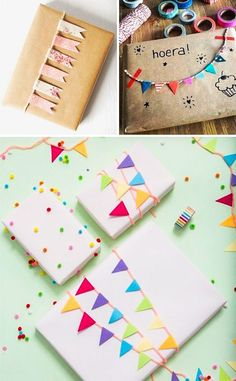 Little flags: To create these little flags, take some small pieces of colored paper or fabric. You'll need to glue them to some twine. Then just attach them to a gift box.
